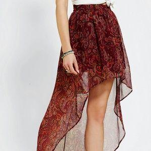 Ecote Sachi High Low Skirt Red Chiffon Maxi Skirt